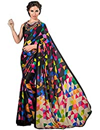 Rajeshwar Fashion Women's Crepe Silk Saree (Black Creap Silk Seymore Checks_Black)
