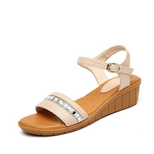 Estate moda donna sandali comodi tacchi alti,37 giorni blu apricot