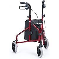 Drive Medical Ultralight, in alluminio, colore: rosso, con Tri-Walker-Deambulatore a