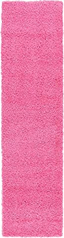 Modern Solid Plush 2-Feet by 10-Feet (2' x 10') Runner Solid Shag Taffy Pink Contemporary Area Rug
