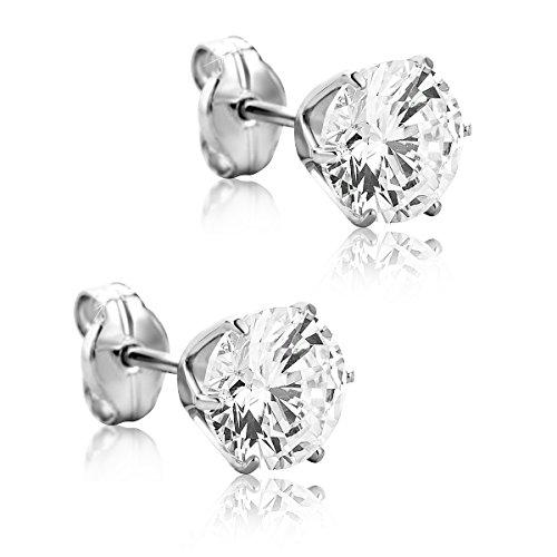 Orovi Ohrstecker Ohrringe Set ,Damen Weißgold Ohrstecker 9Karat (375) Cubic Zirconia Brillantschliff (Weißgold Ohrstecker Diamant)
