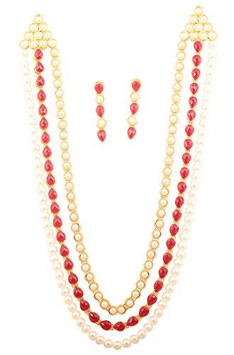 Piedra de toque Bollywood de la India Exclusive Kundan Polki Look Indumentaria Tradicional de la India Tapa larga funda–Collar con perlas de imitación y sintética Ruby para mujer en tono de oro.