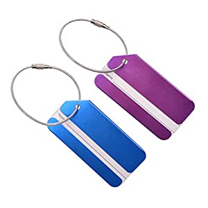ULTNICE 2pcs Holiday Metal Travel Luggage Baggage Suitcase ID Tag Buckle Address Label Holder (Blue Purple)