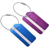 WINOMO 2pcs Etichette per Valigie con Nome Carte Metal Stringhe Bagagli Fibbia Address Label Holder (Blu Viola)