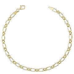 Idea Regalo - Braccialetto, maglia Figaro alternata 1 + 1, vero oro giallo, da uomo