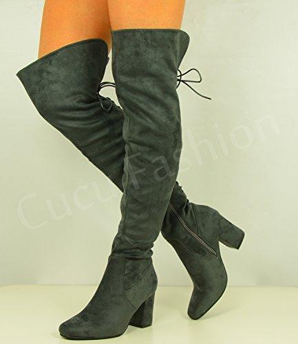 Cucu Fashion , Sandales Compensées femme Gris