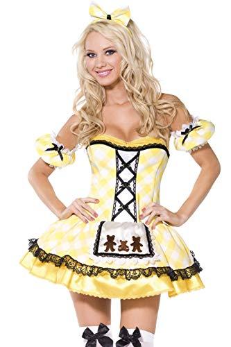 Smiffys, Damen Goldlöckchen Kostüm, Kleid mit Schürze, Ärmel und Haarband, Größe: M, - Goldlöckchen Kostüm Damen