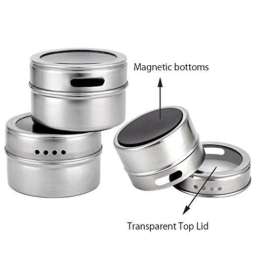 Botes de especias, botes de especias magnético PAWACA recipiente para especias condimento...
