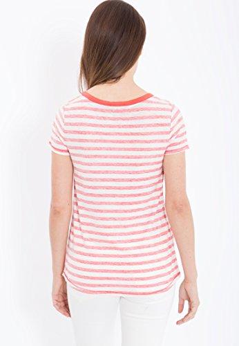 MEXX Rundhals T-Shirt gestreift inside out Damen Regular Fit Rundhals Halbarm Casualmode MX3023177 Rot