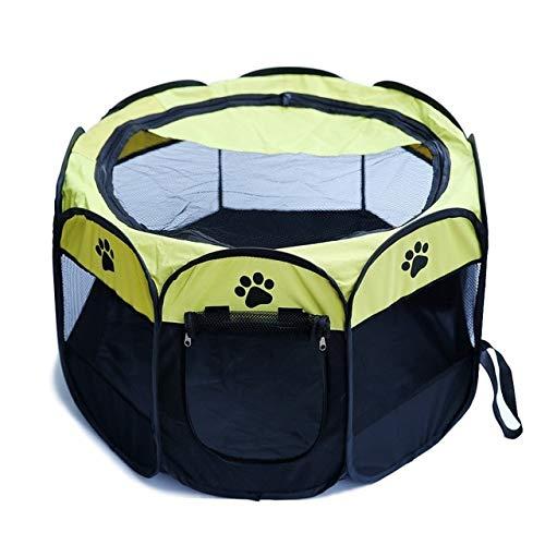 Haustierzelt Tragbares Oxford-Stoff-Katzen-Welpen-Spielen und Übungs-Laufstall-Käfig-atmungsaktives und waschbares achteckiges Haustier-Zaun-Zelt L Gelb -
