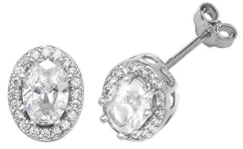 9ct Weiß Gold Mitte Oval Cut CZ Cluster Ohrstecker Ohrringe 8x 6mm 2,1g gekennzeichnet (Stein Cut Pro)
