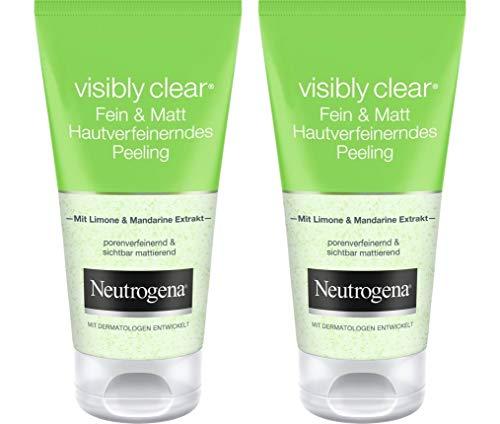 Neutrogena Visibly Clear Fein & Matt Hautverfeinerndes Peeling - Porenbefreiendes und mattierendes Waschpeeling mit Limone und Mandarinen-Extrakt - 2 x 150ml