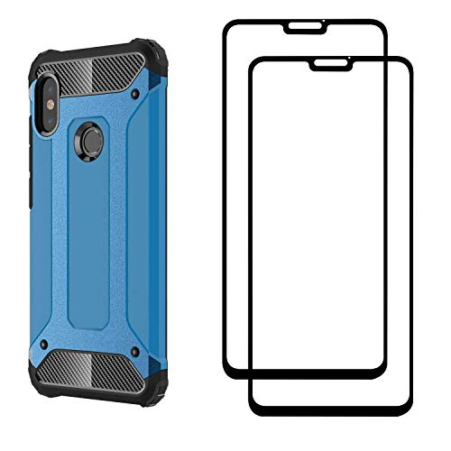 FANFO® Xiaomi Redmi Note 6 pro Hülle + [2 Stück] Gehärtetem Glass, TPU + PC-Kombination Langlebig Schutzhülle + 9H Härte Displayschutzfolie Folie für Xiaomi Redmi Note 6 pro, Blau