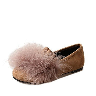 SHOESHAOGE Chaussures Femmes De Confort Loafers Pu Tomber &Amp; Slip-Ons Talon Plat Bout Rond Pour Gris Noir Kaki Décontracté Le kaki