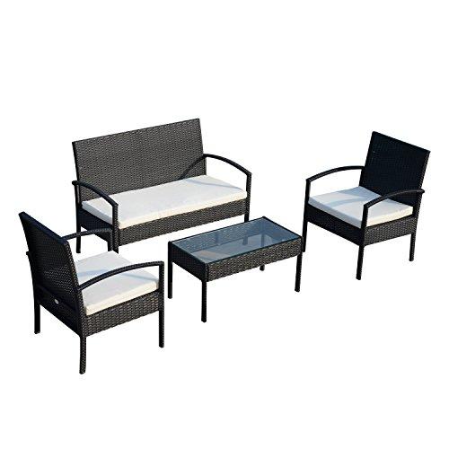 Ensemble salon de jardin 4 places : canapé, 2 fauteuils et table basse plateau verre trempé résine tressée 4 fils imitation rotin noir coussins blanc neuf 24