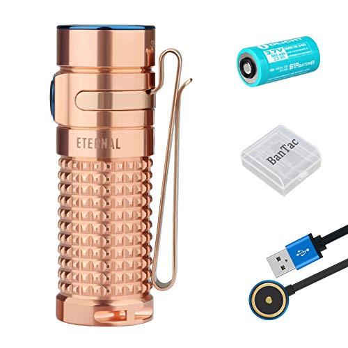 Olight S1R II Taschenlampe (Limitierte Edition aus Titan und Kupfer) 1000 Lumen / 145 Meter 6500K XM-L2 CW-LED Wiederaufladbare Seitenschalter EDC-Taschenlampe, mit 16340 Batterie (Ewig (CU))