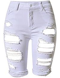 056c4666ea2 Mujer Cintura Alta Pantalones Cortos Jeans Denim Shorts Rotos Casual Jeans  Shorts
