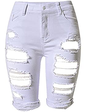 Mujer Cintura Alta Pantalones Cortos Jeans Denim Shorts Rotos Casual Jeans Shorts