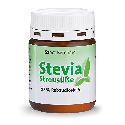 Sanct Bernhard Stevia-Streusüße Pulver; Stevia-Extrakt 97% Rebaudiosid - Inhalt 30 g - Stevia Blatt Pulver