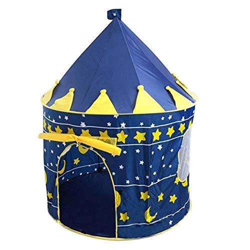 SAsagi Kinderspielhaus mit Spitzen Oben und runde unten,Kinder Zelt des Prinzen Schloss mongolischen spielhaus Zelt, Königstochter Haus Spielzeug Haus Baby zimmerdekoration-blau