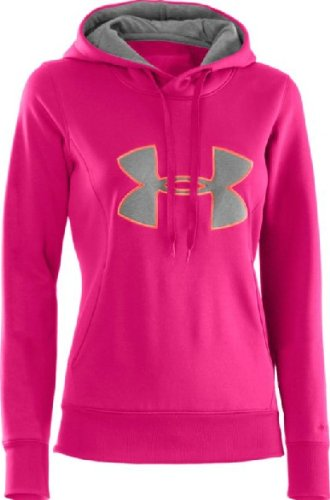 Under Armour Damen Sweatshirt AF Storm Big Logo Hoody,pink/orange (813), XS (Semi Fitted Jacke)