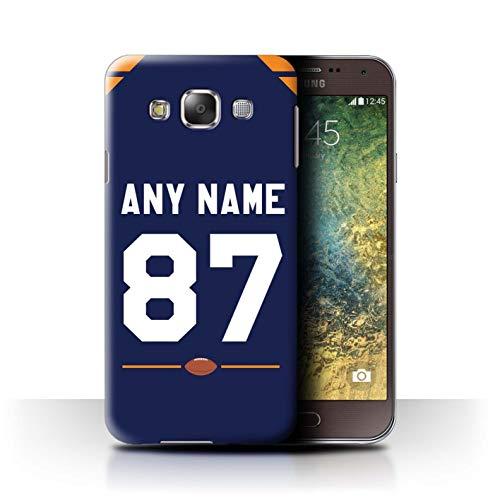 eSwish Personalisiert Individuell Amerikanischer Fußball Jersey 2 Hülle für Samsung Galaxy E5/E500 / Dunkelblau/Orange Design/Initiale/Name/Text Schutzhülle/Case/Etui