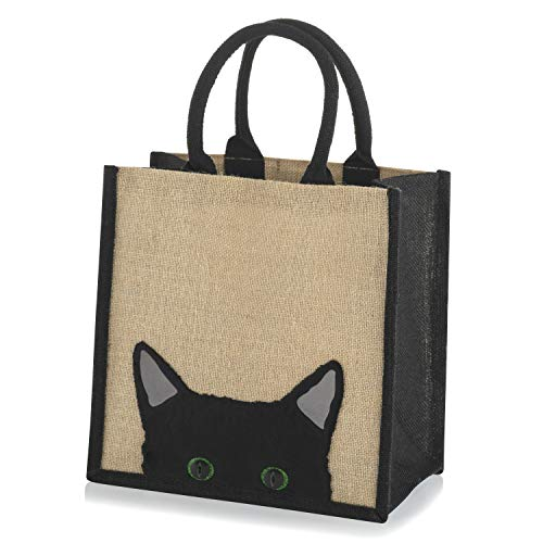 Sac de shopping en toile de jute Motif chat caché Liseré Noir, Taille M