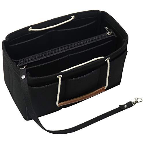 Soyizon Filztasche Organizer Insert Handtasche passt LV Speedy 30-40, Handtasche Organizer Insert für Tote mit Griffen Schlüsselbund (X-Large, schwarz) - Schwarze Birkin Bag