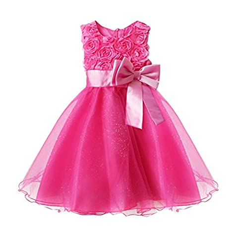 TiaoBug Girls Rose Flower Dress Bowknot Holiday Wedding Pageant Communion Party Dresses Size 3-4 Years Hot Pink