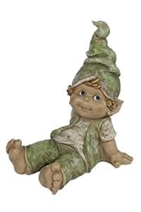 Casa Collection 10884 Wichtel, Junge sitzend, stützt sich mit beiden Händen ab Höhe 38 cm, Breite 29 cm, bunt