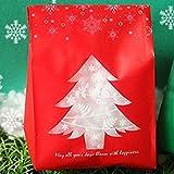 Barcarine Attraktive Candy Biscuit Packaging Box mit Schneeflocken Weihnachten Dessert Kekse Taschen Weihnachtsdekorationen für Zuhause(None red)