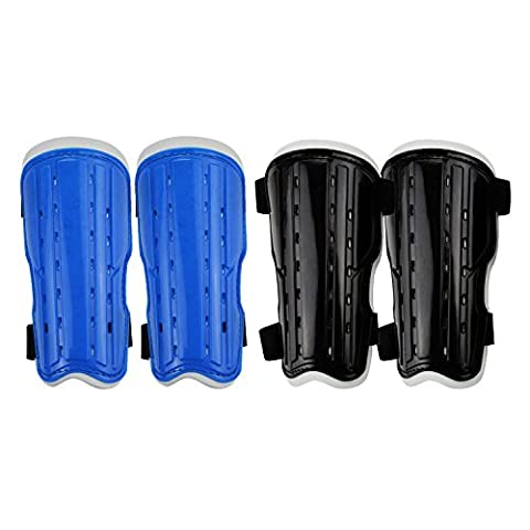 Kids shin guards,Child Soccer Shin Pad,Perforated Breathable Soccer Shin Guards Board, for Youth,Teenagers, Boys, Girls Football Games Leg Calf Protective Gear(2 Pairs,Blue and Black) (Black&Blue)
