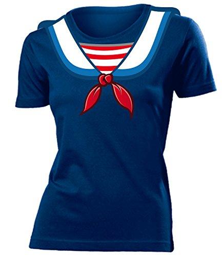 Kostüm N Herr Frau - Matrosenkostüm Matrosen Karneval Kostüm 4545 Damen T-Shirt Karneval Fasching Faschingskostüm Karnevalskostüm Paarkostüm Gruppenkostüm Navy XL