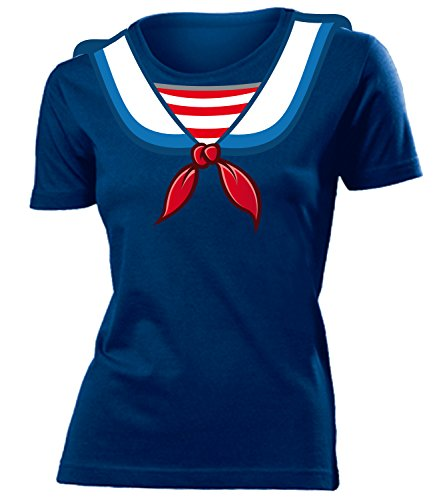 Frau Matrose Kostüm - Matrosenkostüm Matrosen Karneval Kostüm 4545 Damen T-Shirt Karneval Fasching Faschingskostüm Karnevalskostüm Paarkostüm Gruppenkostüm Navy XL