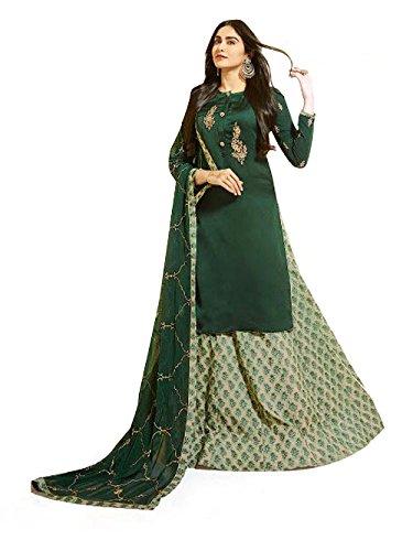 Green Colour Georgette Satin Party Wear Salwar Kameez