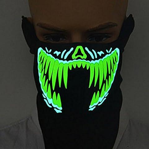 Rokoo Outdoor Radfahren LED Gesichtsmaske Wasserdicht Leucht Blinken Leuchten Sound Control Musik Halloween Party Cosplay Masken