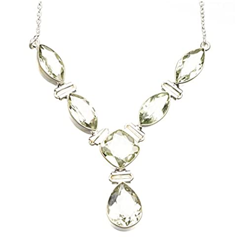 stargems (TM) natur grün Amethyst 925Sterling Silber Y-Halskette 43,2cm