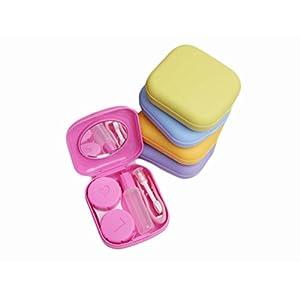 Qingsun Kontaktlinsenbehälter miniKontaktlinsen Behälter Box Aufbewahrung Pinzette Spiegel Tweezer Stick Pocket Size Zufällige Farbe
