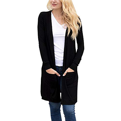 MEIbax Damen Leichte Kimono Cardigan Langarm Strickjacke Loose Pocket Slim Mantel Outwear