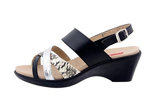 Comfort Scarpe Da Donna In Pelle Piesant 6859 Sandali Scarpe Solette Estraibili Comodi Ampio Negro