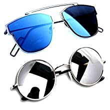 822c99cb023 Combo Set of 3 UV Protect Aviators Unisex sunglasses   goggles for Men Women  with