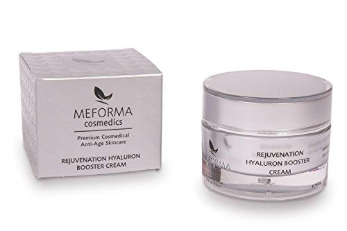 Meforma Rejuvenation Hyaluron Booster Cream 50 ml | Wirkstoffkosmetik | Luxuriöse Hyaluron-Argireline-Anti-Aging Creme mit nieder- und hochmolekularer Hyaluronsäure, Argireline, Aquaxyl, Vitamin E, Vitamin C, ProVitamin B5 und pflegenden Ölen | Premium Anti-Aging Hyaluronsäure Creme von Meforma Cosmedics
