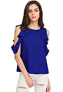 42f0da59424677 Vrati Fashion Women American Western Wear Crepe Marron Color Top (X-Large)