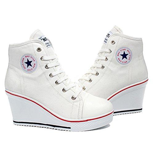 Damen Keilabsatz Schuhe Mädchen Canvas Sneaker Schuhe für Sport Freizeit Weiß Größe 35-43 von QIMAOO
