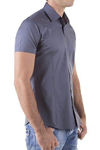 Herren Kurzarm Hemd Basic Uni Elasthan Slim Fit S M L XL XXL Anthrazit
