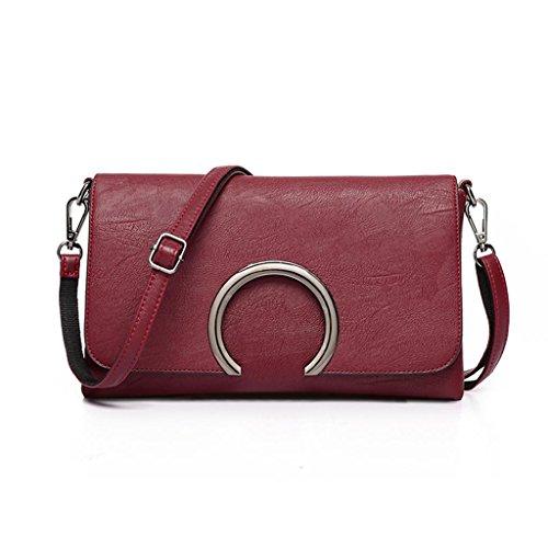 Einzel-schulter Frauen-handtaschen (Great Strange Damen Mini Bag Einfache Kleine quadratische Paket Einzel schulter Messenger Bag Mode PU Einkaufen , wine red)