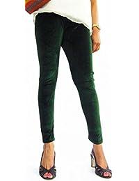Hap Women's Green Velvet Polyester Leggings(Green_Green_Free Size)