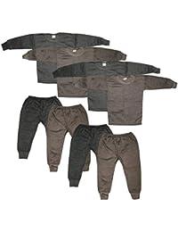 Kids Unisex Body Warmer Thermal Winter Wear (Top + Bottom) Multi-Color(Set of 4)