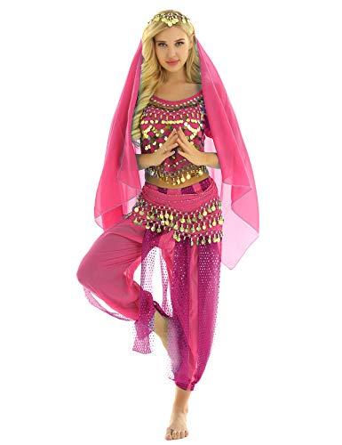 MSemis Damen Bauchtanz Kostüm Set Pailletten Tanzkleidung Indische Tanz Performance-Kleidung 4tlg. Sets Oberteil + Haremshose + Hüfttuch + Kopftuch Rose Einheitsgröße (Kostüm Für Indische Tänze)