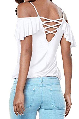 Hippolo T-shirt / bloue/top pour femme à épaules dénudées asymétriques, bretelles et manches à volants -  - moyen Blanc